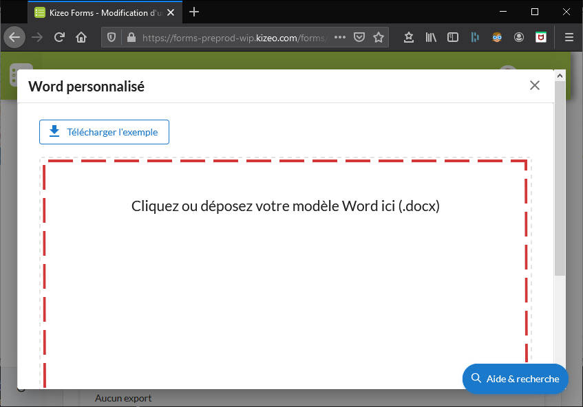 Importer modèle export Word
