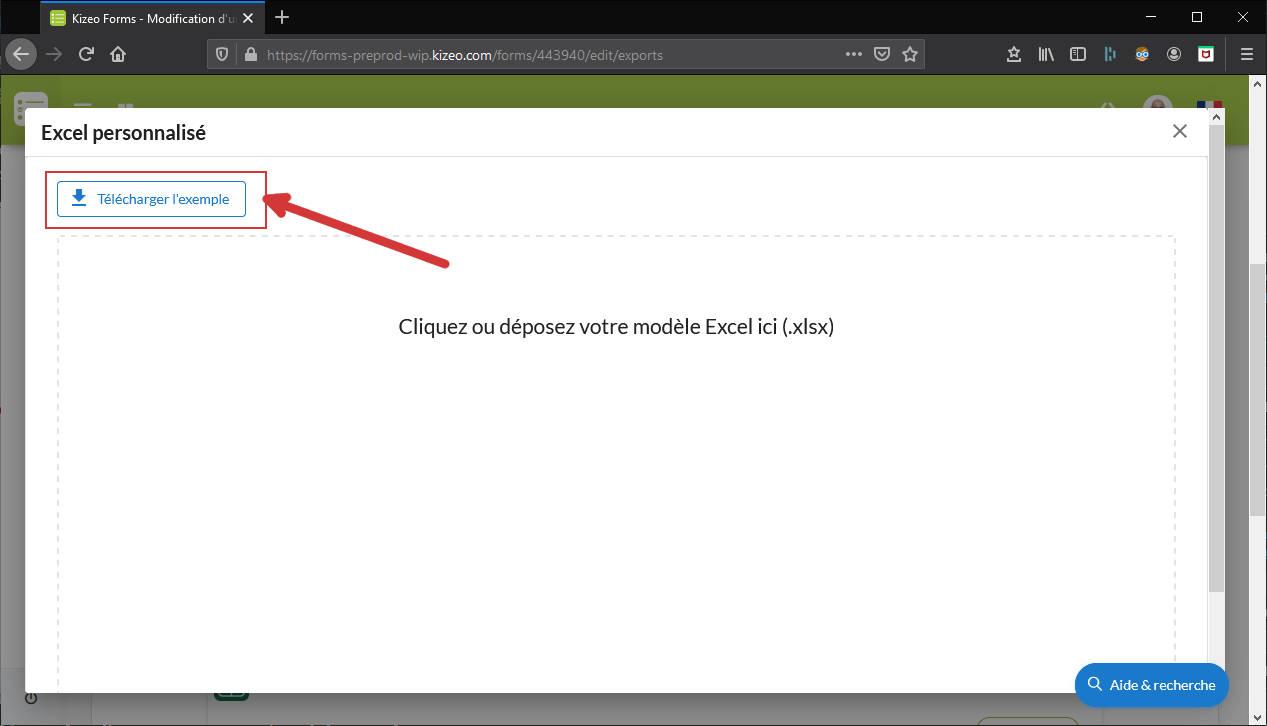 Télécharger exemple export Excel personnalisé