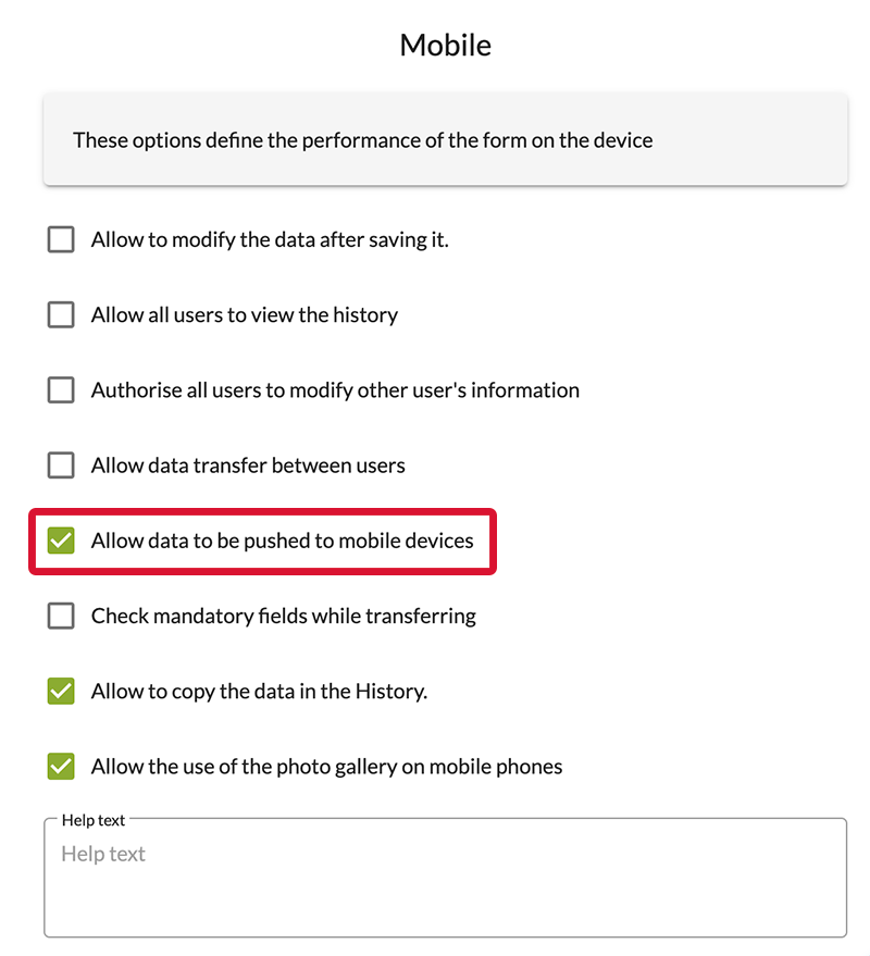 Go to the form generalOptions, to the Mobiletab, and check the 'Allow data to be pushed to mobile devices'box.