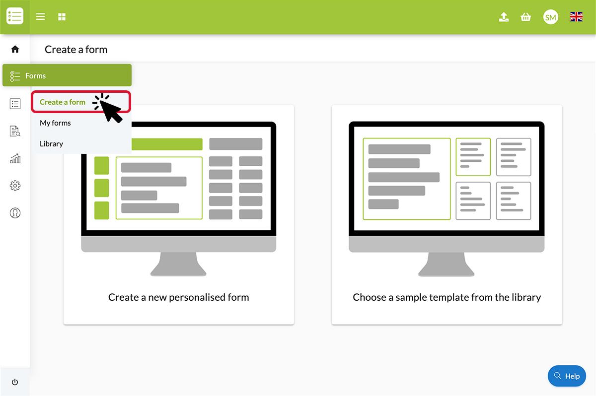 Create a form under forms menu