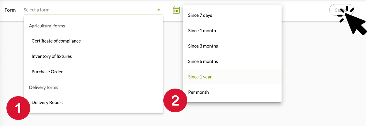 Select the form on which you wish to workand the time period