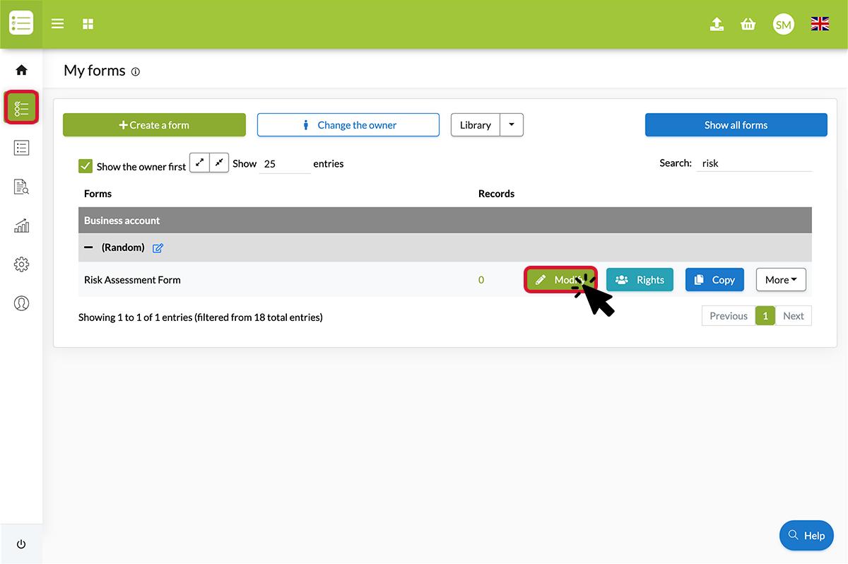 Click on modify to modify the form
