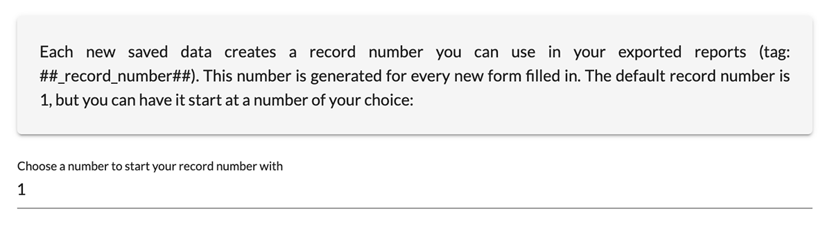 Choose a number to start your record number with