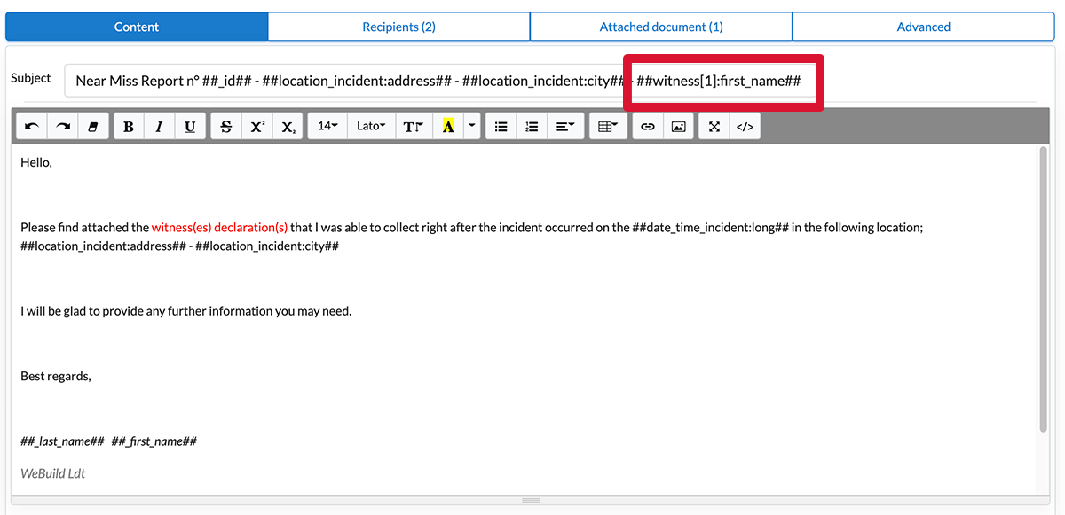 Display an info in the subject line email
