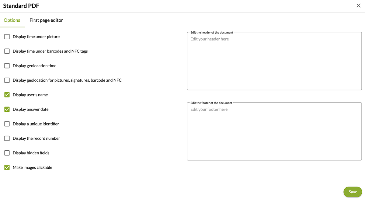 standard pdf settings